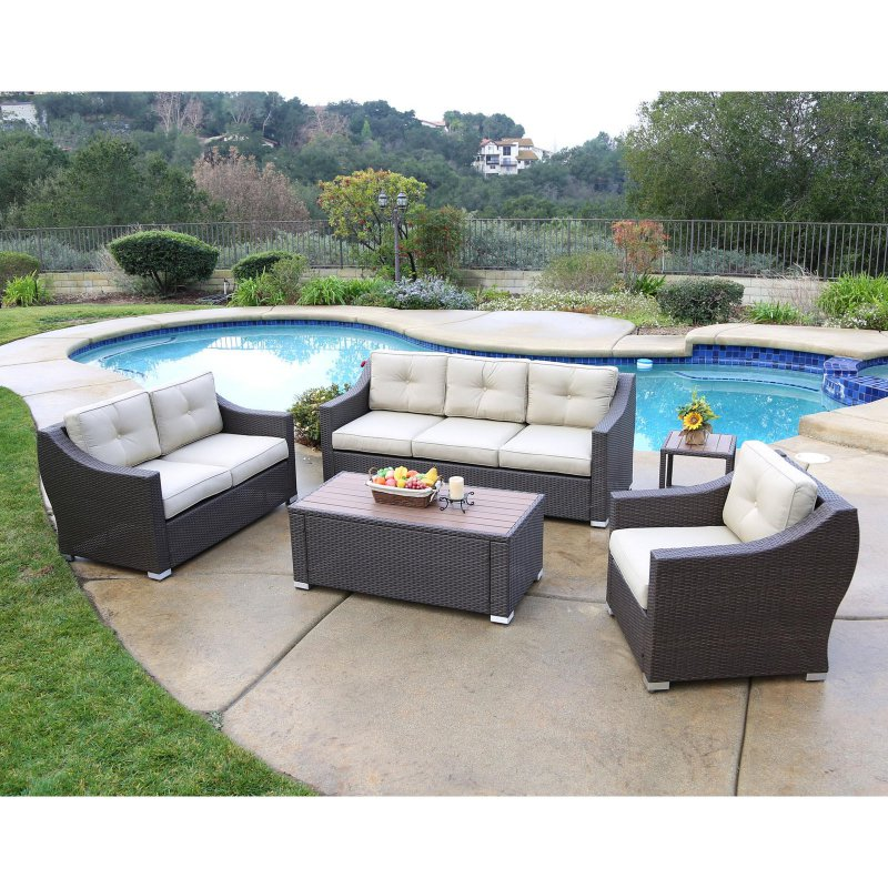 Outdoor Jj Designs South Beach Wicker 5 Piece Deep Seating Patio