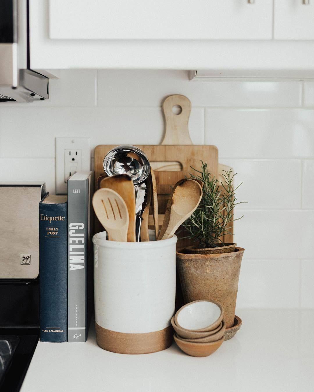 utensil crock collection in 2020 farmhouse kitchen decor farmhouse style kitchen modern on farmhouse kitchen utensils id=63590
