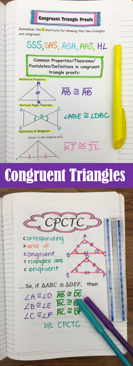 Congruent Triangle Proofs Student Notes (Including CPCTC