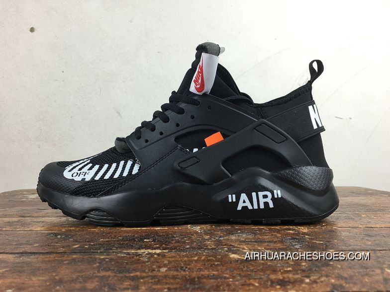 a9488e156edc Nike Huarache 4 Customized Air Ultra Collaboration OFF-WHITE AA3841-001 All  Black New Year Deals