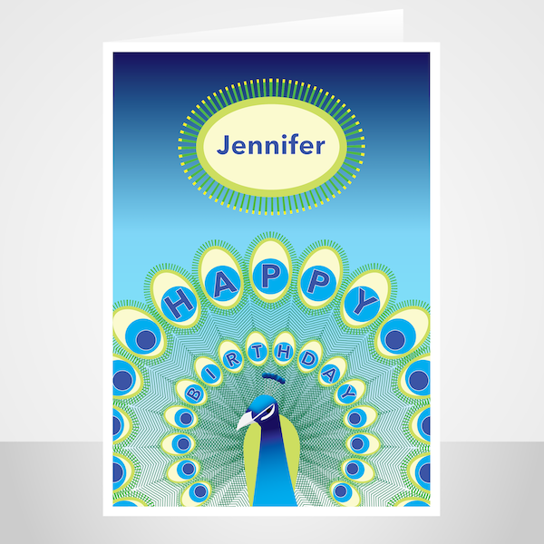 edit name birthday card for her mom mum peacock with