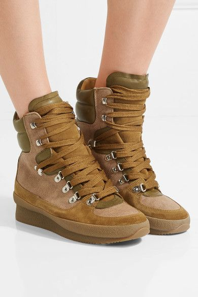 f1fcbda5ae5 ISABEL MARANT stylish Brendty leather-trimmed suede and canvas ankle boots
