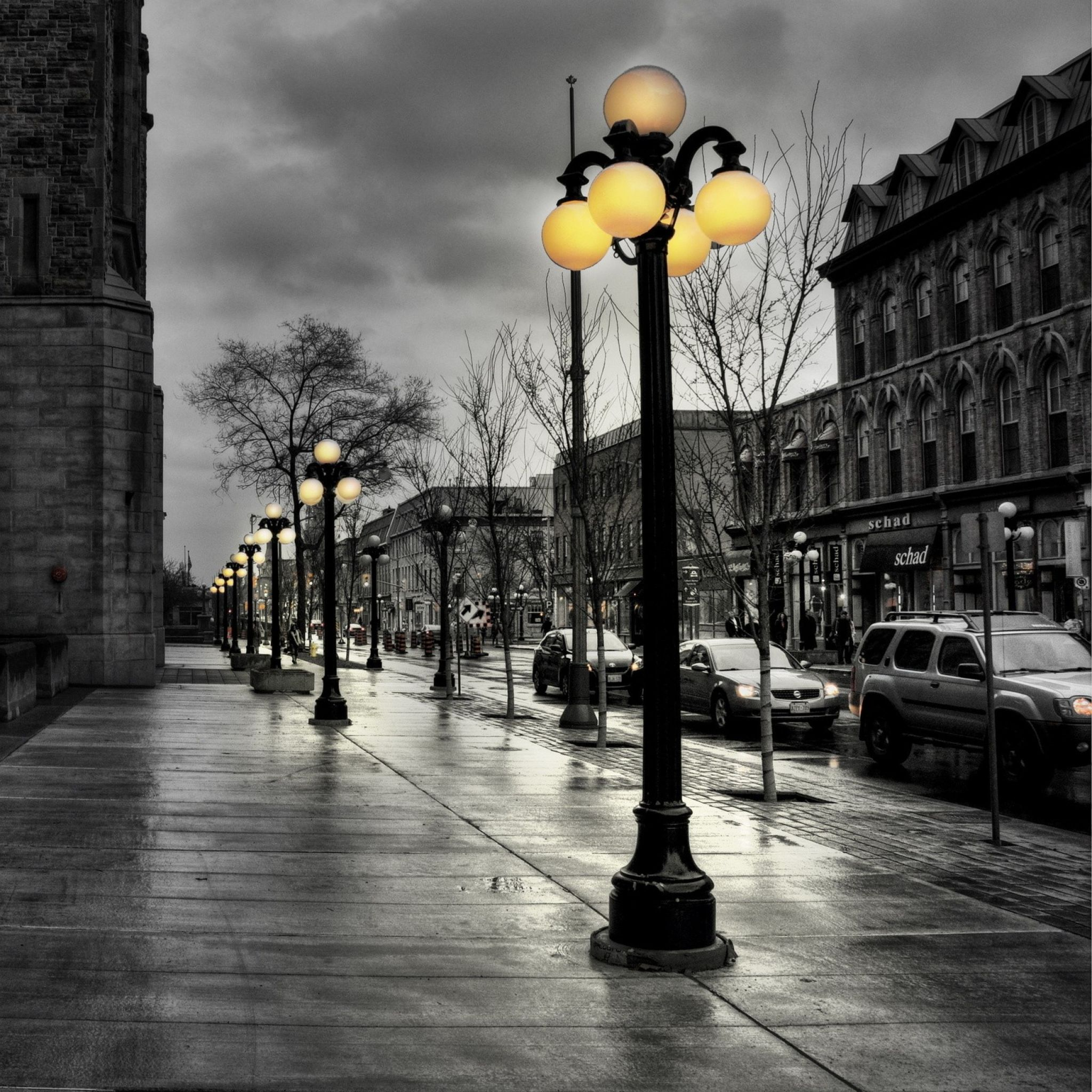 Rainy Day Wallpaper: 2048x2048 Wallpaper Street, City, Evening, Black White