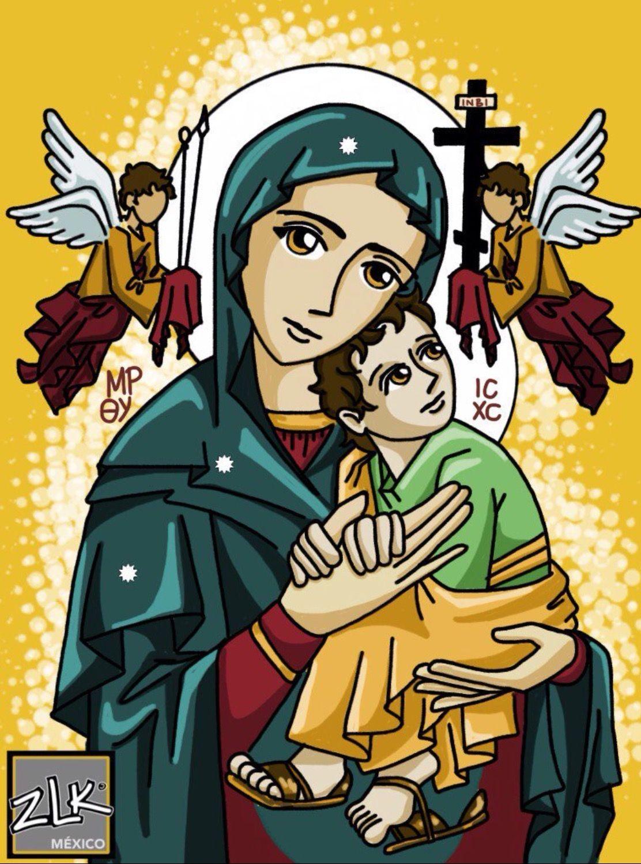 Pintura De Virgen Del Perpetuo Socorro Nossa Senhora Do Perpetuo Socorro Desenho Religioso Arte Catolica