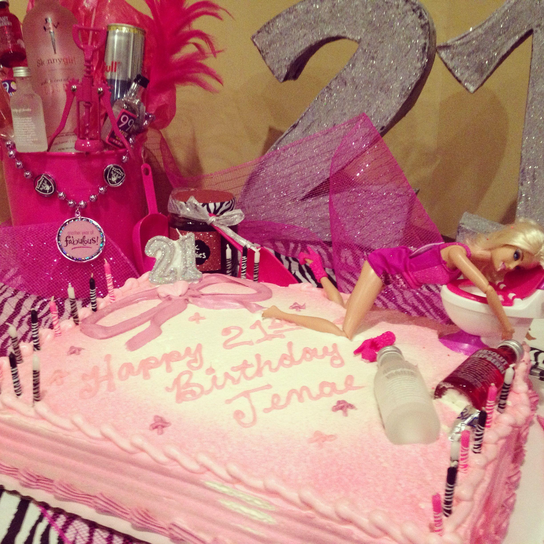 My Sisters 21st Birthday Drunk Barbie Cake !