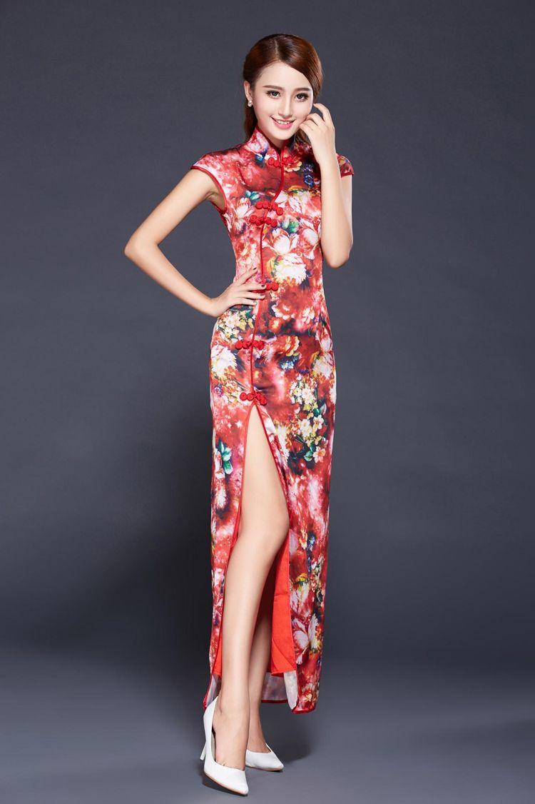 719dd45334690 チャイナドレスロングスリット 韓流 タイトウエストチャイナ服 民族風 刺繍チャイナドレス -