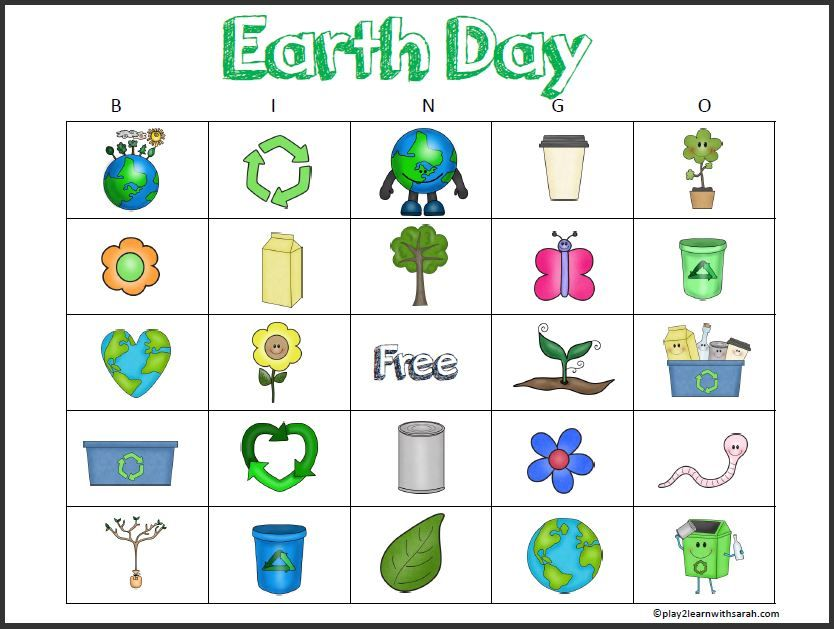 Free printable earth day bingo cards ccuart Gallery