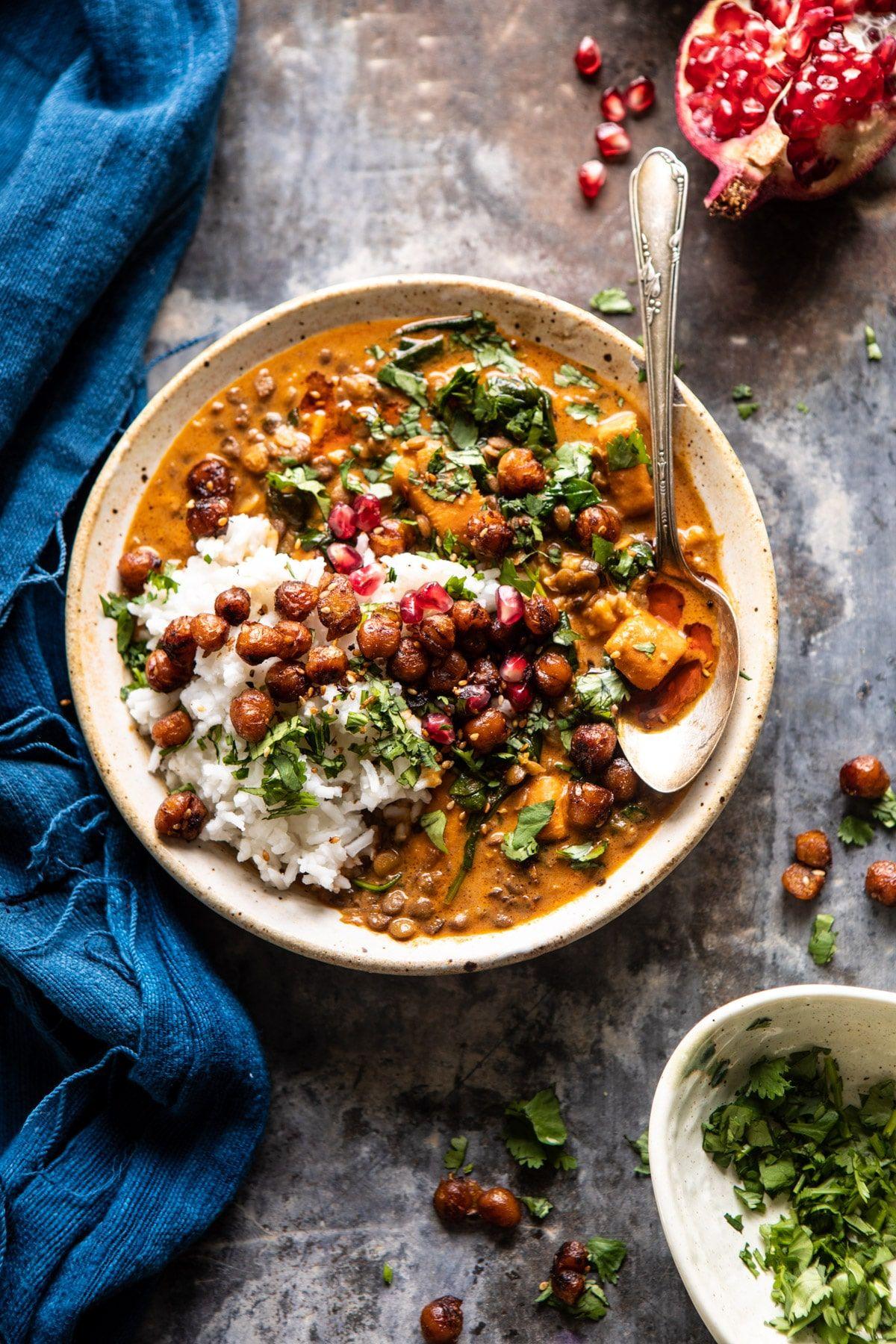 Sweet Potato Lentil Curry with Crispy Sesame Chick