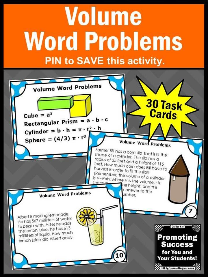 Volume and Capacity Word Problems Task Cards, 6th Grade