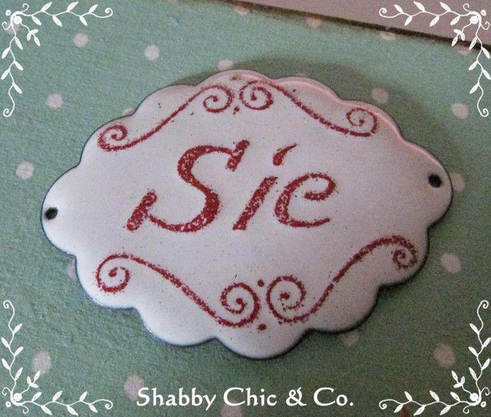 """Süßes kleines Emaille-Schild """"Sie"""" im Shabby Chic von Shabby Chic & Co. auf DaWanda.com"""