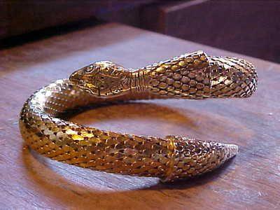 Vintage Whiting and Davis gold snake wrap around bracelet