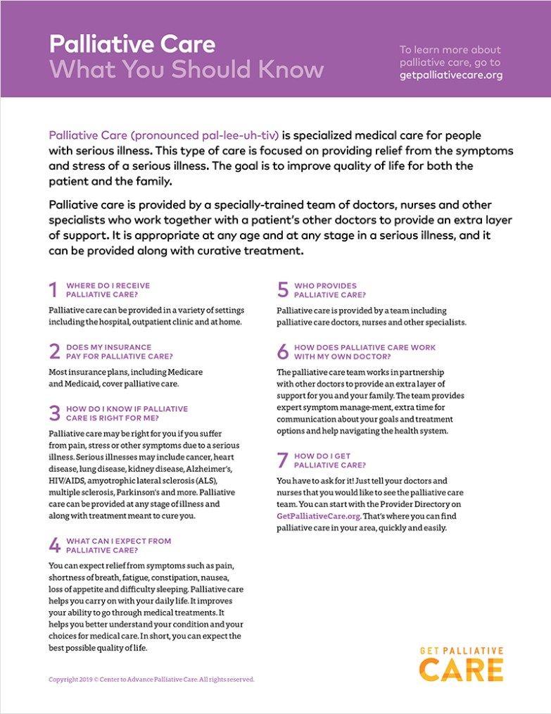 Palliative Care Patient Education Handouts Get