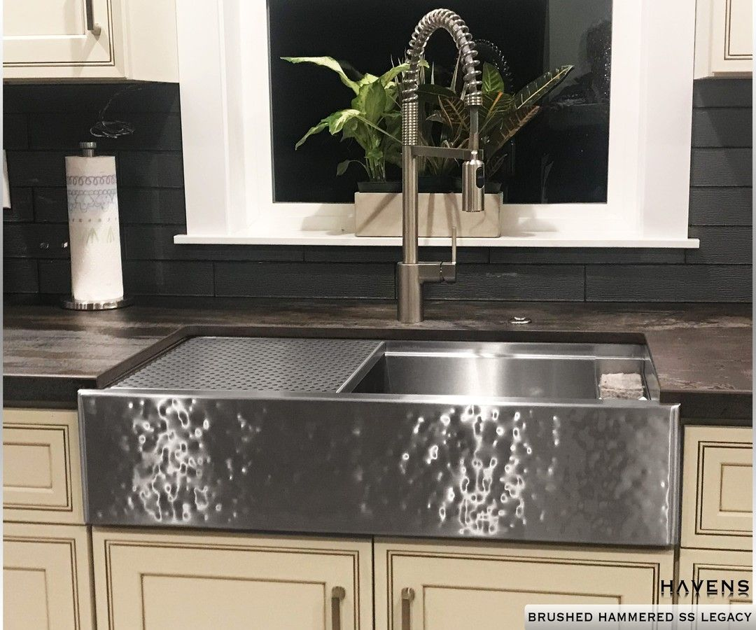 The Legacy Sink In The Incredible Brushed Hammered Stainless Steel Finish Havensmetal Com Stainless Steel Farmhouse Sink Stainless Steel Sinks Farmhouse Sink