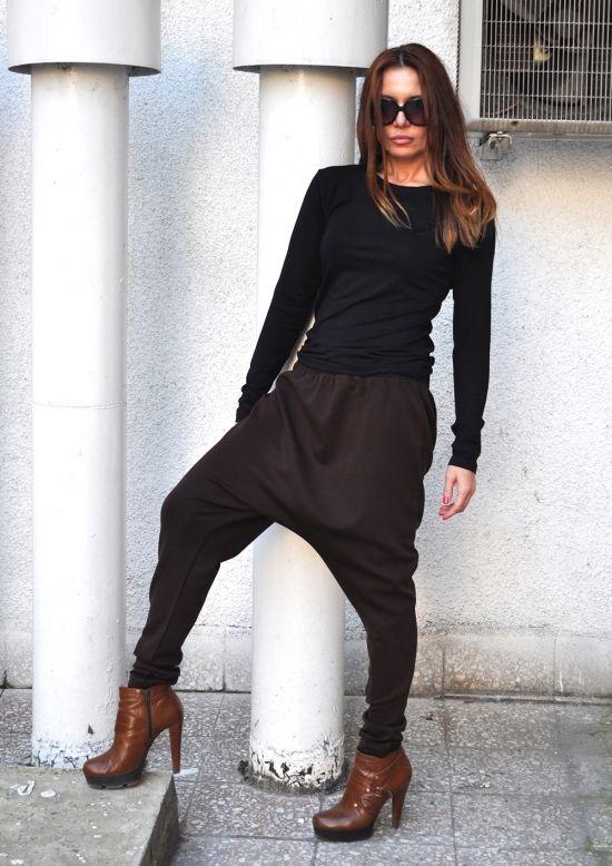 9445f3bf98c Loose Casual brown Drop Crotch Harem Pants