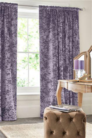 Mauve Crushed Velvet Multi Header Lined Curtains | Lined curtains,  Curtains, Pleated curtains