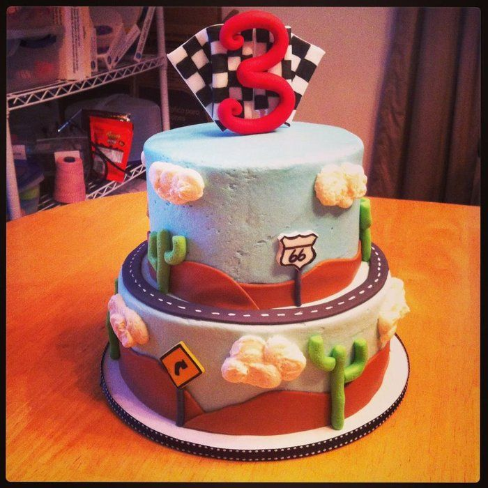 Cars/Travel/Racing Themed Birthday Cake - by ButRCream @ CakesDecor.com - cake decorating website