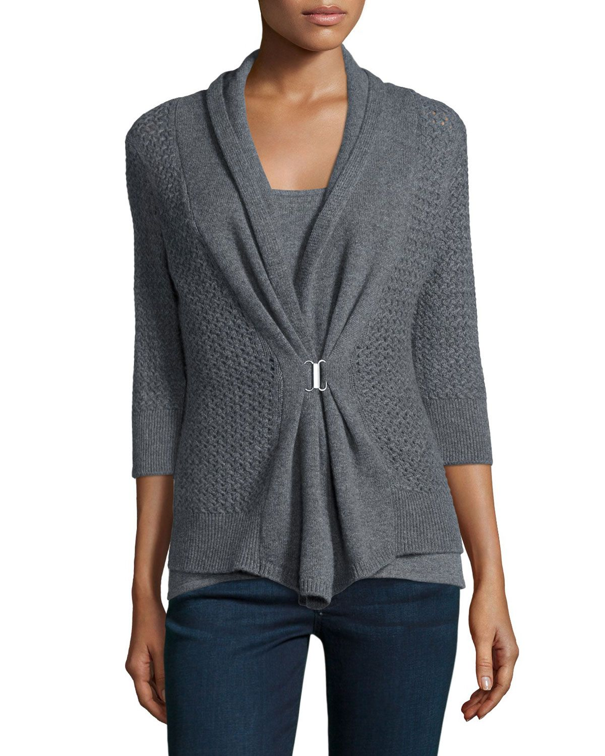 Ruched-Sleeve High-Low Cardigan Neiman Marcus 2018 Cool Cheap Sale Cheap EyjsdWr5