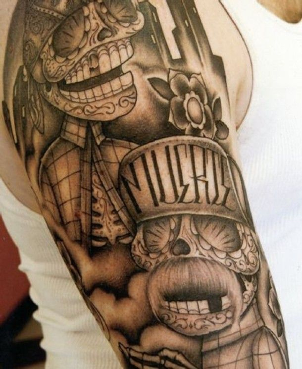 3dcad1254 Gangster Tattoo Designs - Mexican | Betty | Mexican skull tattoos, Gangster  tattoos, Gangsta tattoos