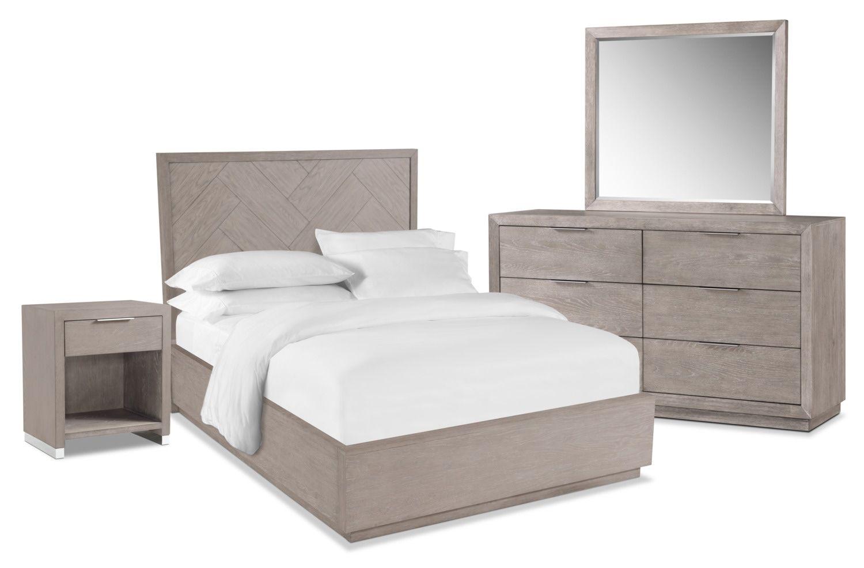 Zen 5-Piece Bedroom Set with Nightstand, Dresser and Mirror