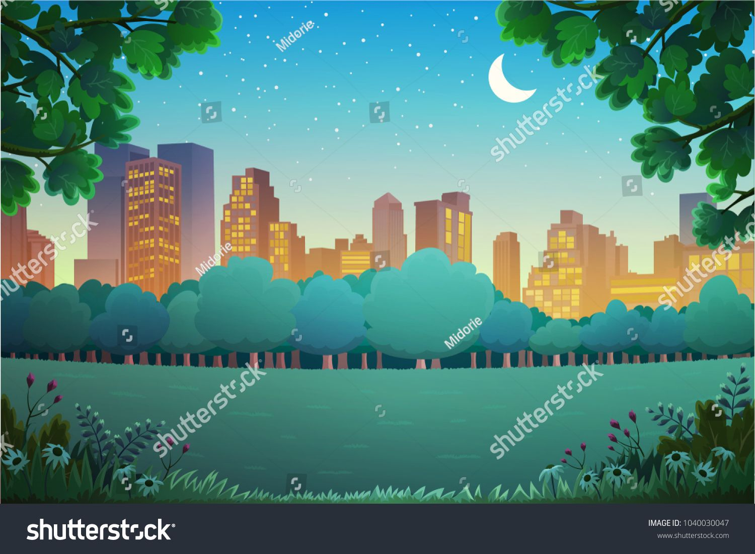 Illustration Of City Park At Night Vector Background Sponsored Spon Park City Illustration Backgr Vector Background City Illustration Park City
