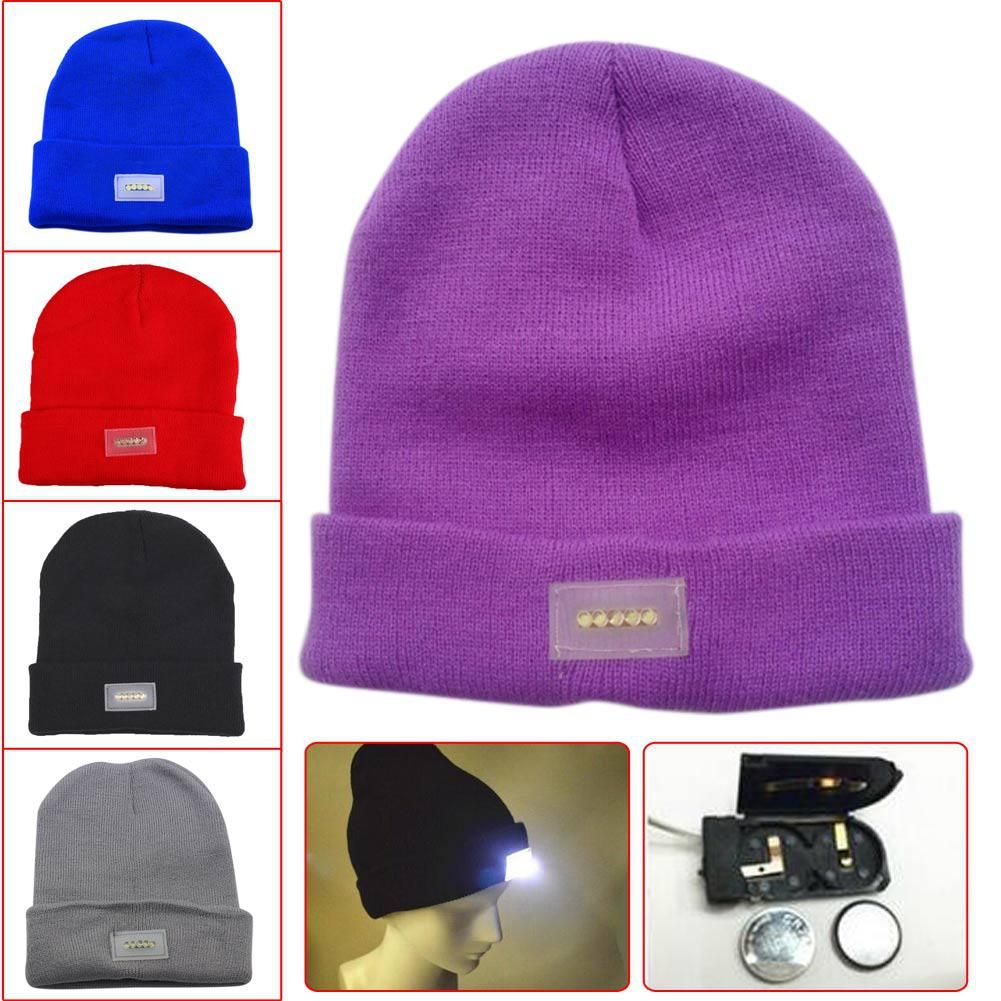 Hot LED Light Caps Knitting Beanie Angling Warm Winter Hats Knitted Ski Cap
