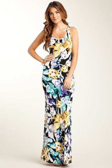 Scoop Neck Racerback Print Maxi Dress by Go Couture on @HauteLook