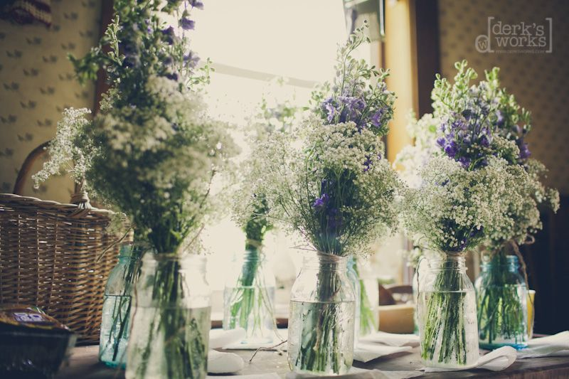 Baby's breath and a hydrangea or lilac bloom make beautiful and cheap centerpieces.