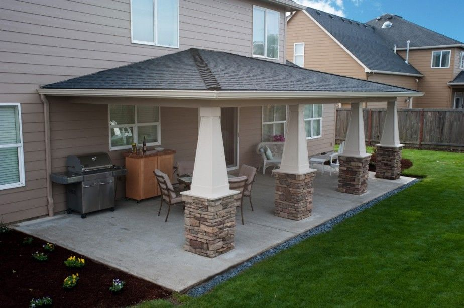Inspiring Patio Cover Design Featuring Solid Cream Color And Half Natural Stone