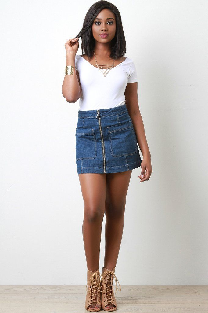 Zip Up Denim Skirt | Skirts, Denim skirts and Style