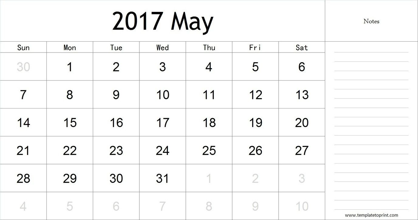 May  Calendar With Notes Pdf Blank Calendar Template  Blank