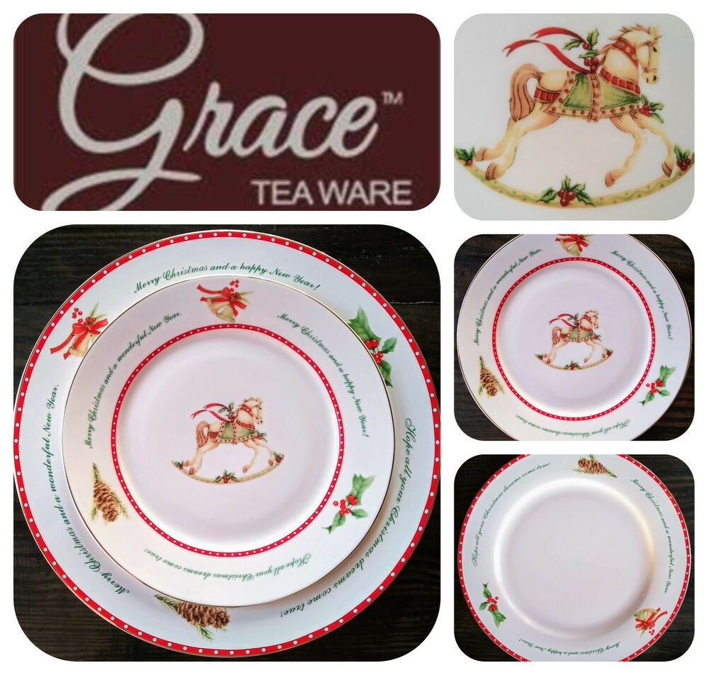 Grace S Teaware Christmas New Year 8 Pc Dinner Salad Plates Horse Store Display Gracesteaware Traditional Christmas In 2020 Plates Salad Plates Teaware