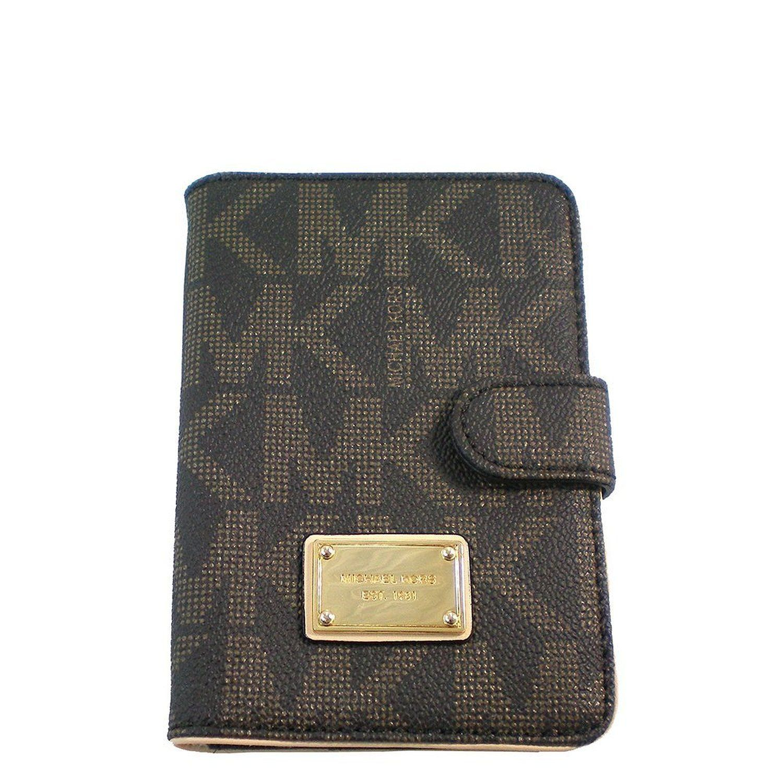0f23298c420 Michael Kors Jet Set Item Passport Holder Case MK Signature PVC Brown:  Handbags: Amazon.com