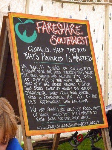 blackboard tent field food waste