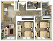 University Park Apartments 4 Person 2 Bedroom 2 Bathroom Apartment Floor Plan Apartment Floor Plan Residence Hall House