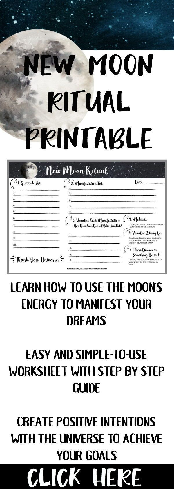 Printable New Moon Ritual, Law of Attraction Moon Planner, Moon Magic, Moon Manifesting, Lunar Cycle