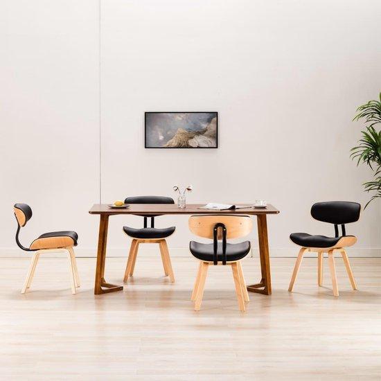 vidaXL Esszimmerstühle 4 Stück gebogenes Holz und Kunstleder schwarz