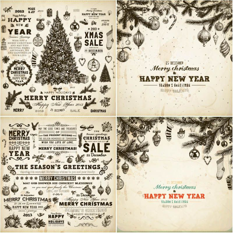 Beautiful Very Beautiful Vintage Christmas Elements For Design Greeting Cards Vector