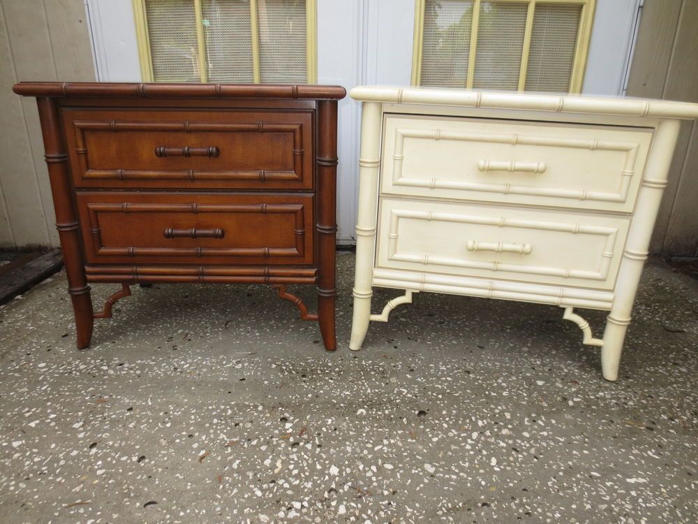 Mobili Chippendale ~ Pair faux bamboo nightstands chinese chippendale hollywood