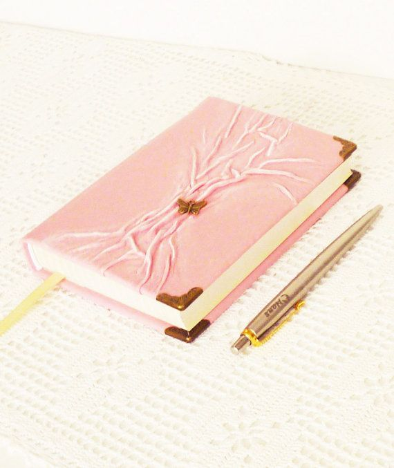 Pink Journal Leather Diary Notebook Butterfly by AnnaKisArt 0b12a3ee9