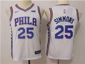 Philadelphia 76ers  25 Ben Simmons Youth White Swingman Jersey ... 478f659d6