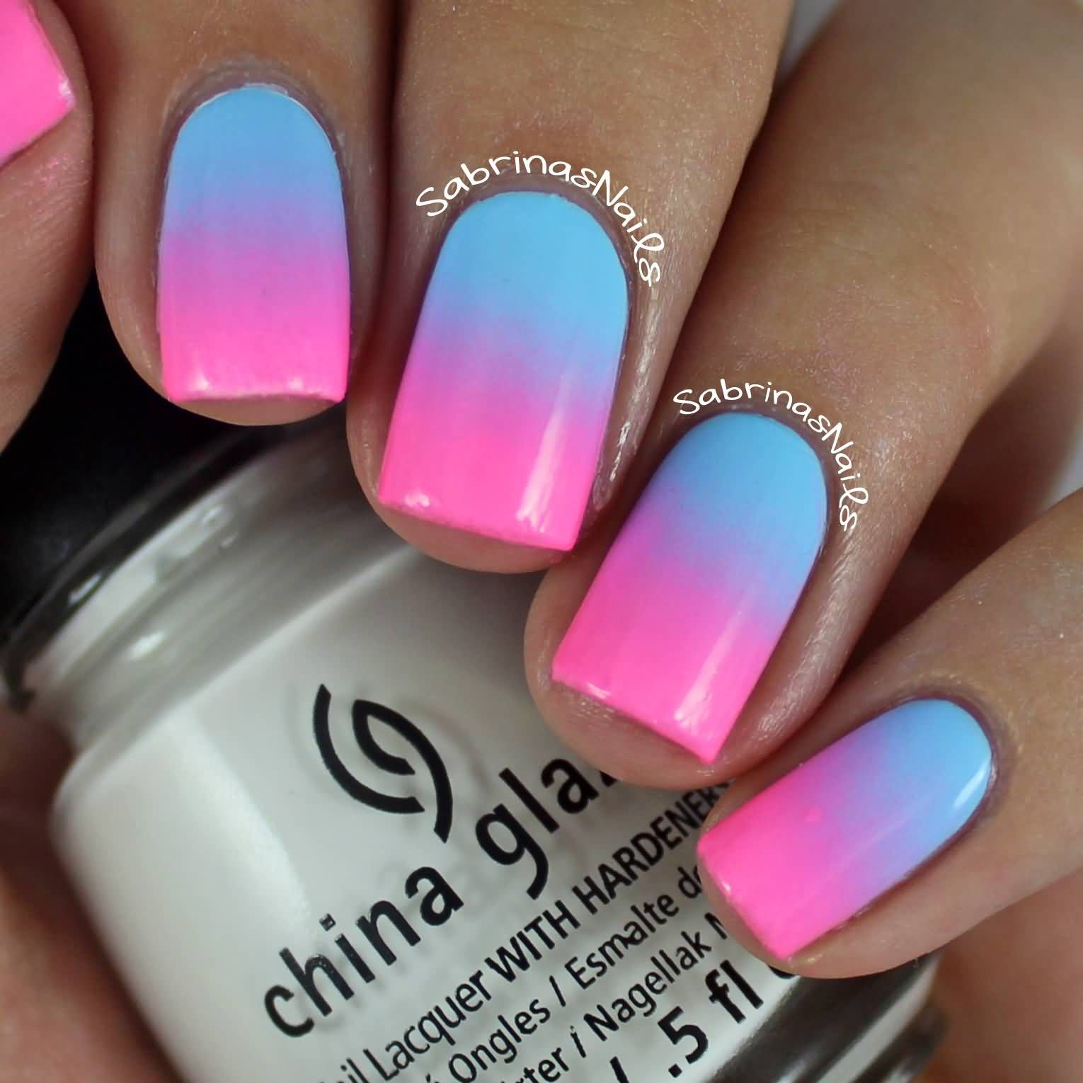 25 Best Blue Ombre Nail Art Design Pictures And Images In 2020 Blue Ombre Nails Ombre Nail Designs Pink Ombre Nail Art