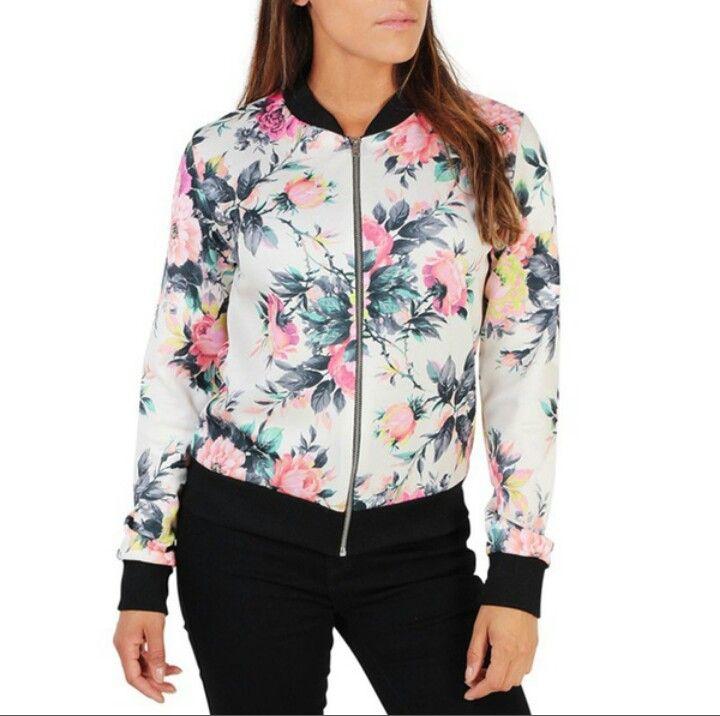 fashion floral print ladies bomber jacket windbreaker coat fall jacket for women plus size women jacket white black $7