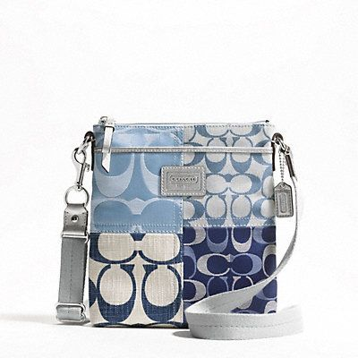 d411c5b787  Authentic Coach Denim   Silver Patchwork Crossbody  is going up for  auction at 9am Thu