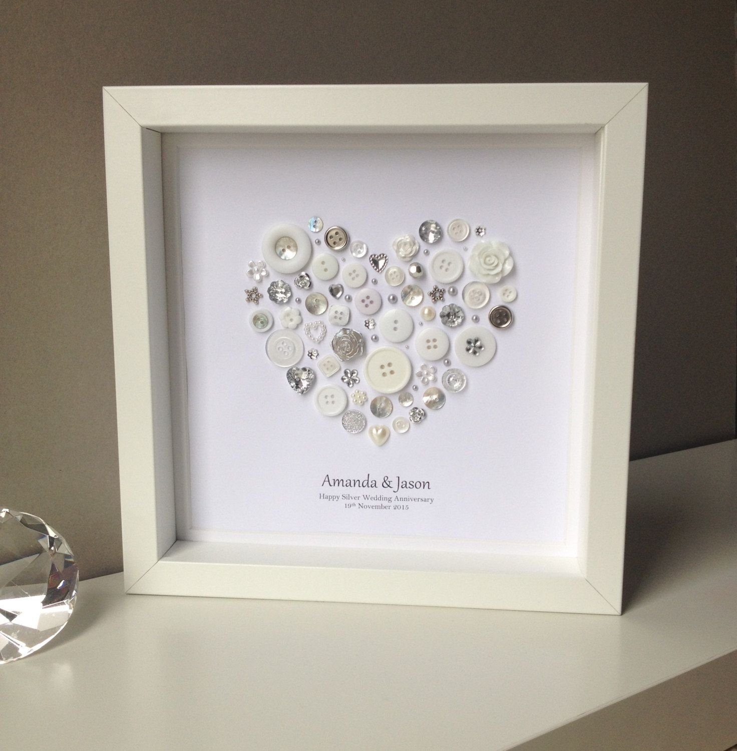 25th Wedding Anniversary Gift Ideas Your Husband: Silver Anniversary Gift 25th Wedding By ButtonArtbySophie