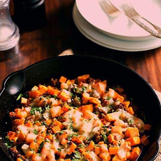 Turkey Sweet Potato Skillet Recipe Main Dishes with extra-virgin olive oil lean ground turkey garli