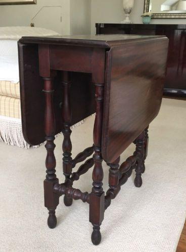 Antique-Vintage-Georgian-Style-Drop-Leaf-Gate-Leg-Table-w-Turned-legs-Mahogany