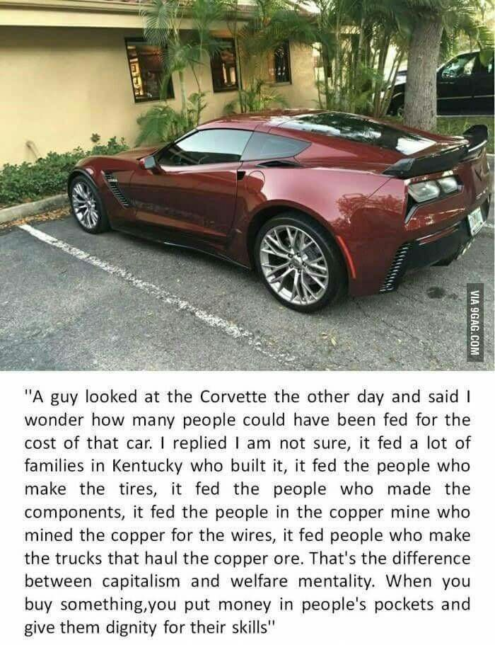 The new perspective  -  that's a stupid comparasion. its still a very expensive car. that's what he meant. the people making tires and assembling car would be fed even by making cheaper car