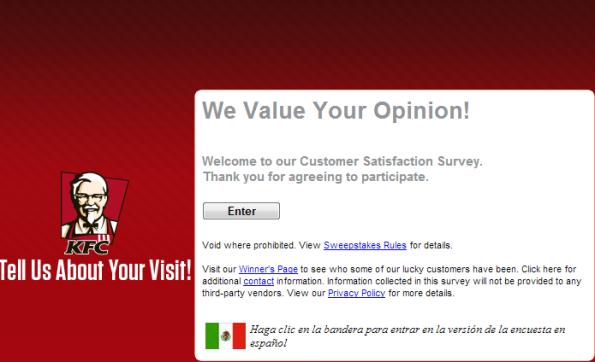 Kfc Customer Satisfaction Survey WwwOpinionportComYum