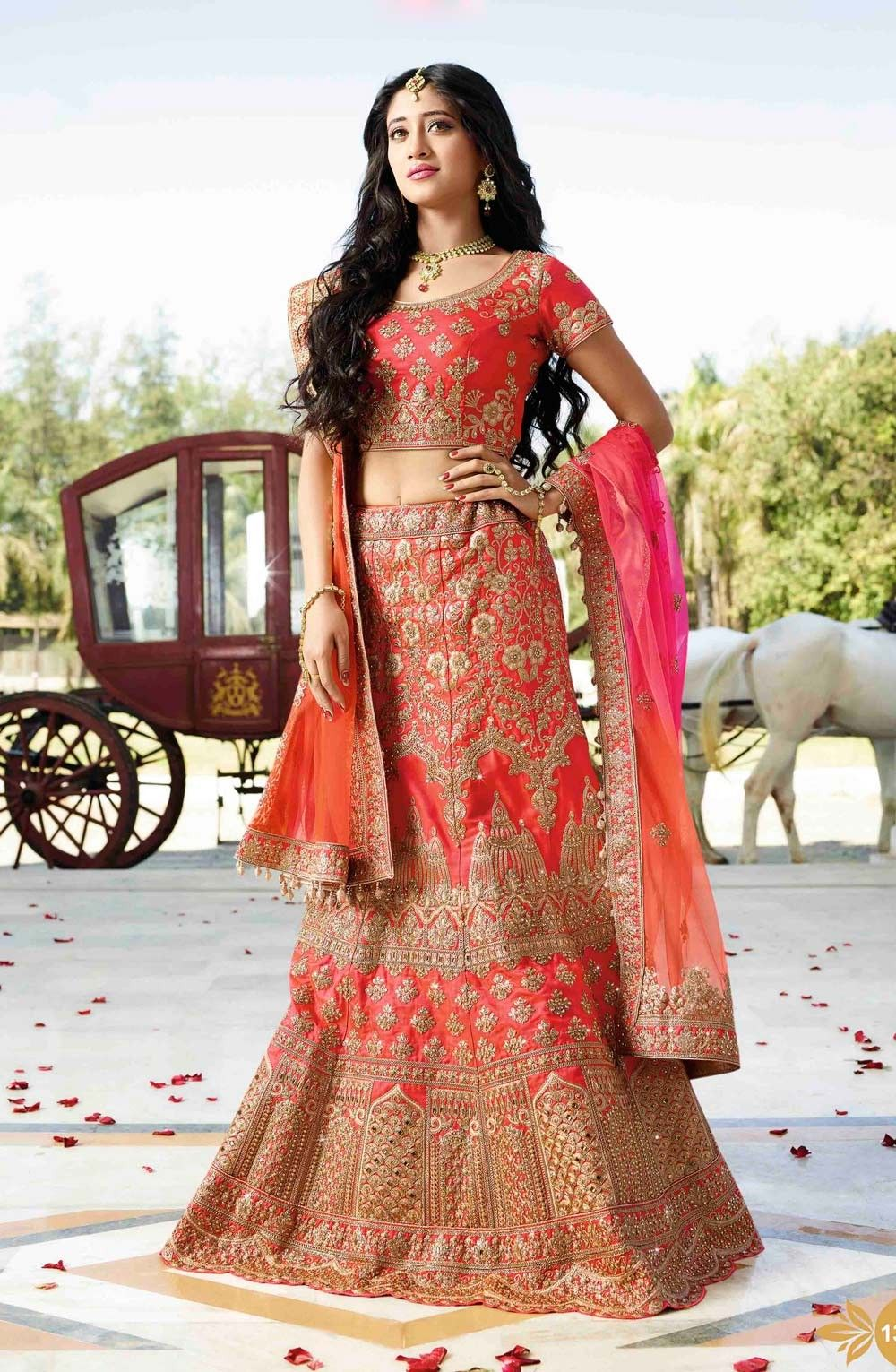 71e1aac8e Rajwadi Bridal Lengha Choli with resham Embroidery on Satin Fabric ...
