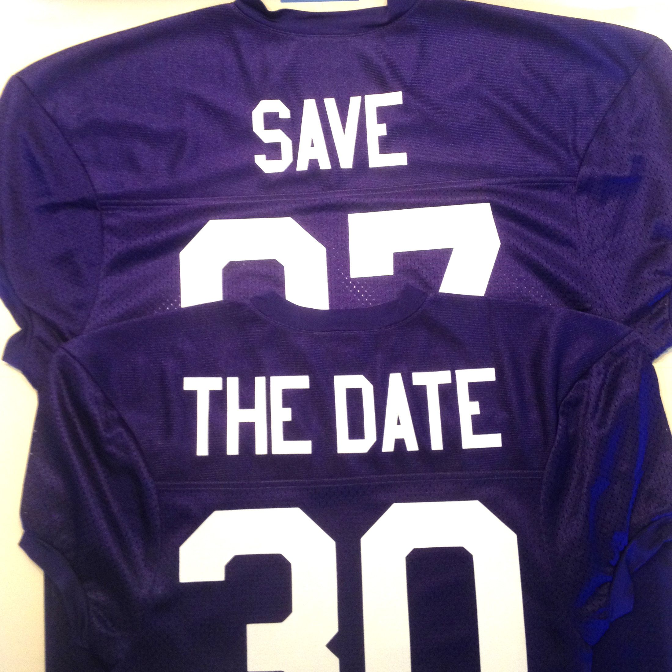 Design your own football jersey t-shirt - Save The Date Crunch Time Custom Football Jersey In Purple With White Lettering